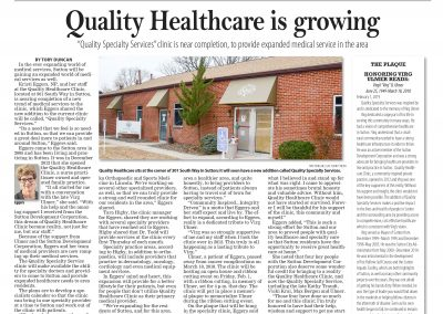 Specialty Clinic News Article
